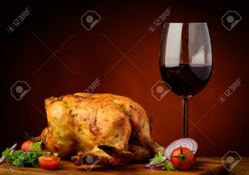 grilled chicken and wine